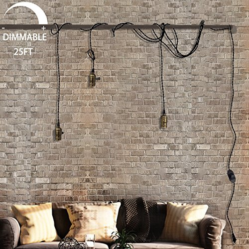 Supmart Vintage Pendant Light Kit Cord with Dimming Switch and Triple E26/E27 Industrial Light Socket Lamp Holder 25FT Twisted Black Cloth Bulb Cord Plug in Hanging Light Fixture