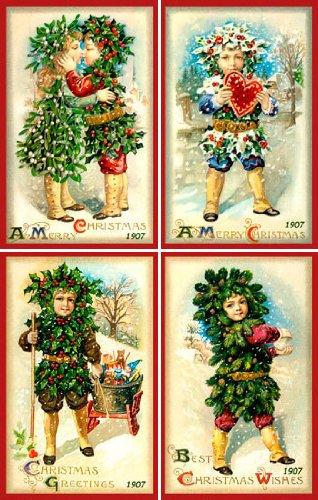 Olde America Antiques Christmas Ornament Set #35 Cotton 3'' x 4.5'' Quilt Blocks