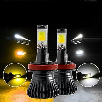 Rcj H11 LED Luces antiniebla Bombillas H8 bombilla LED 6000 K Blanco 3000 K amarillo Dual