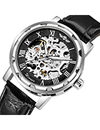 GuTe Classic Steampunk Mechanical Wristwatch Black Skeleton Auto Black Silver Watch Case by GuTe Mechanical