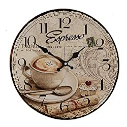 Whole House Worlds The Espresso Wall Clock for Coffee Lovers, Glass, Quartz Movement, Antique Cafe Style