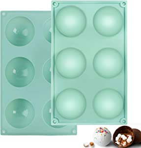 WELTRXE Silicone Mold, 6 Holes 2.75 Inch Semi Sphere Chocolate Bomb Molds, 2 Pack Half Sphere Molds Silicone Baking Mould for Making Hot Cocoa Bombs, Cake, Jelly, Dome Mousse, Pudding-Mint Green