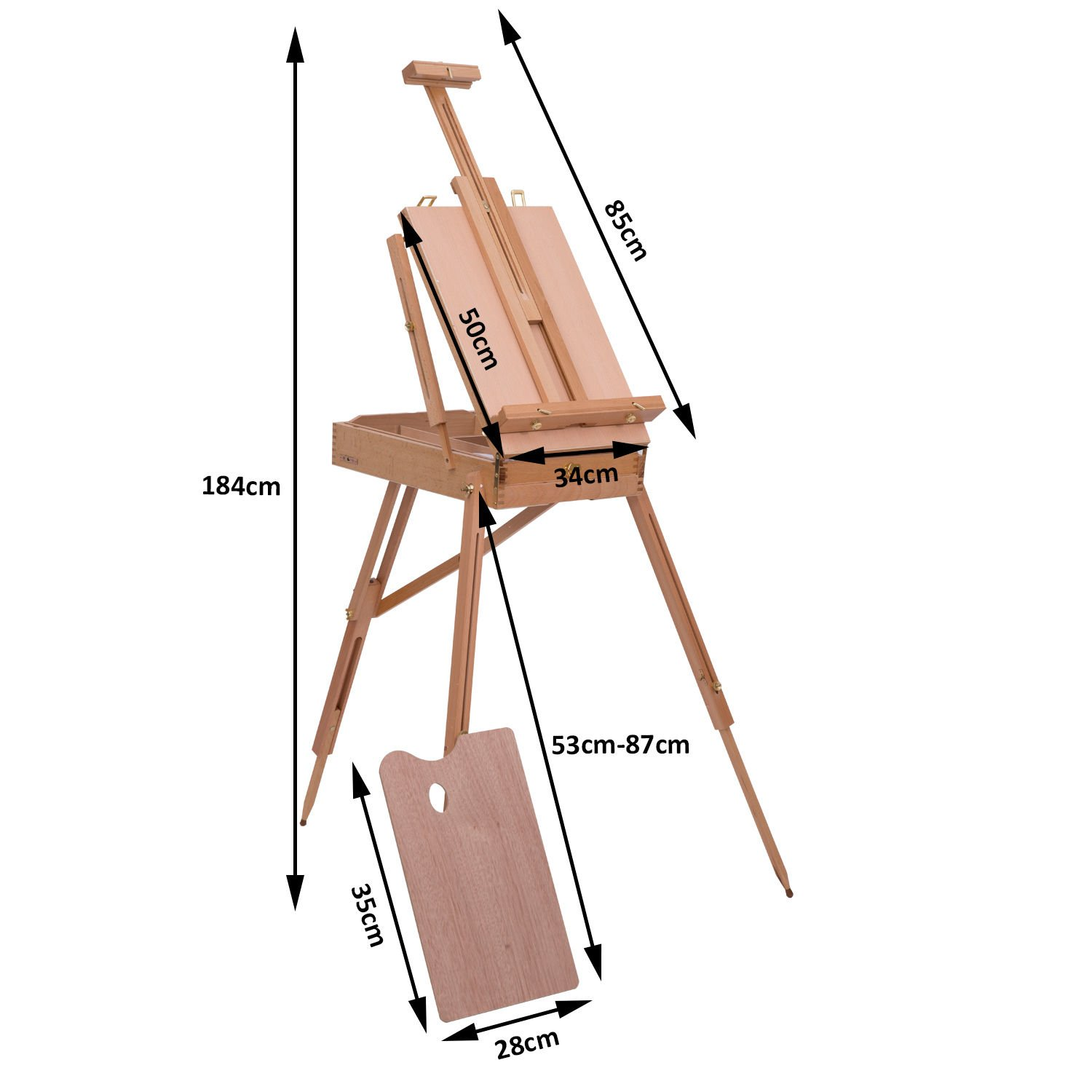 HOMCOM A-Frame Wooden Professional Floor Studio Easel for Painting Holder Sketching Table Art Display Exhibition Adjustable Height 174-230 cm
