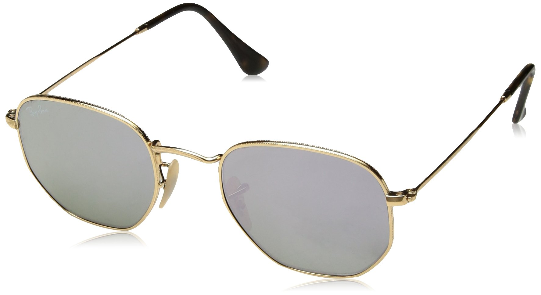 Ray-Ban RB3548N 001/8O Non-Polarized Hexagonal Sunglasses, Gold/Lilac Mirror, 48 mm