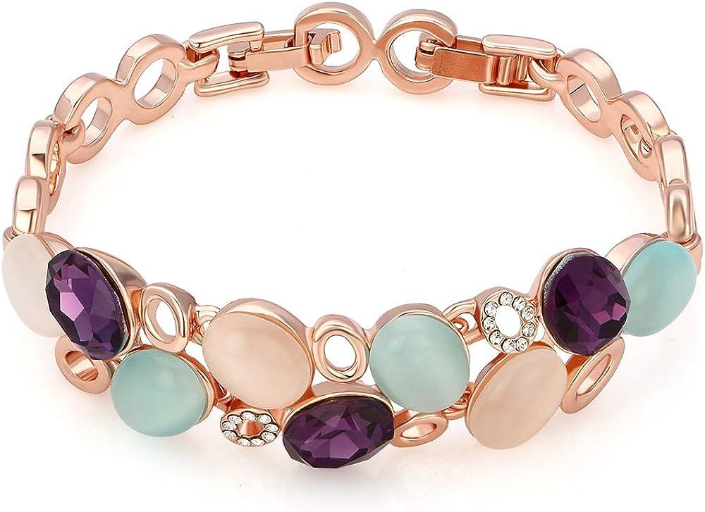 Kemstone oro rosa Amatista Cristal Opal pulsera de enlace, 6,5