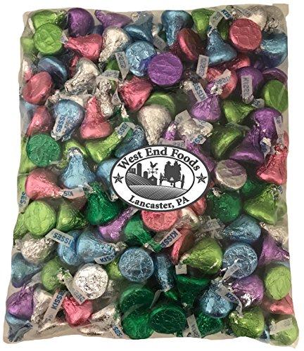 Bulk Milk Chocolate Assorted Hershey Kisses Silver, Pink, Purple, Light Blue, Light Green, Dark Green Foils (2 lb) ()