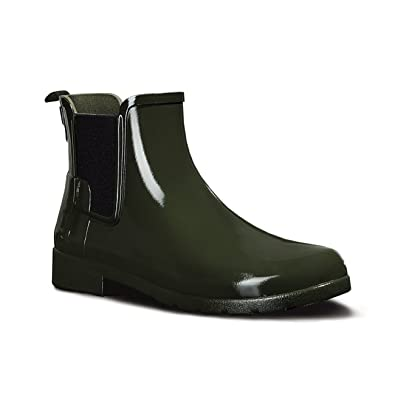 Hunter Womens Original Refined Chelsea Gloss Wellingtons Ankle Rain Boot - Dark  Olive - 5
