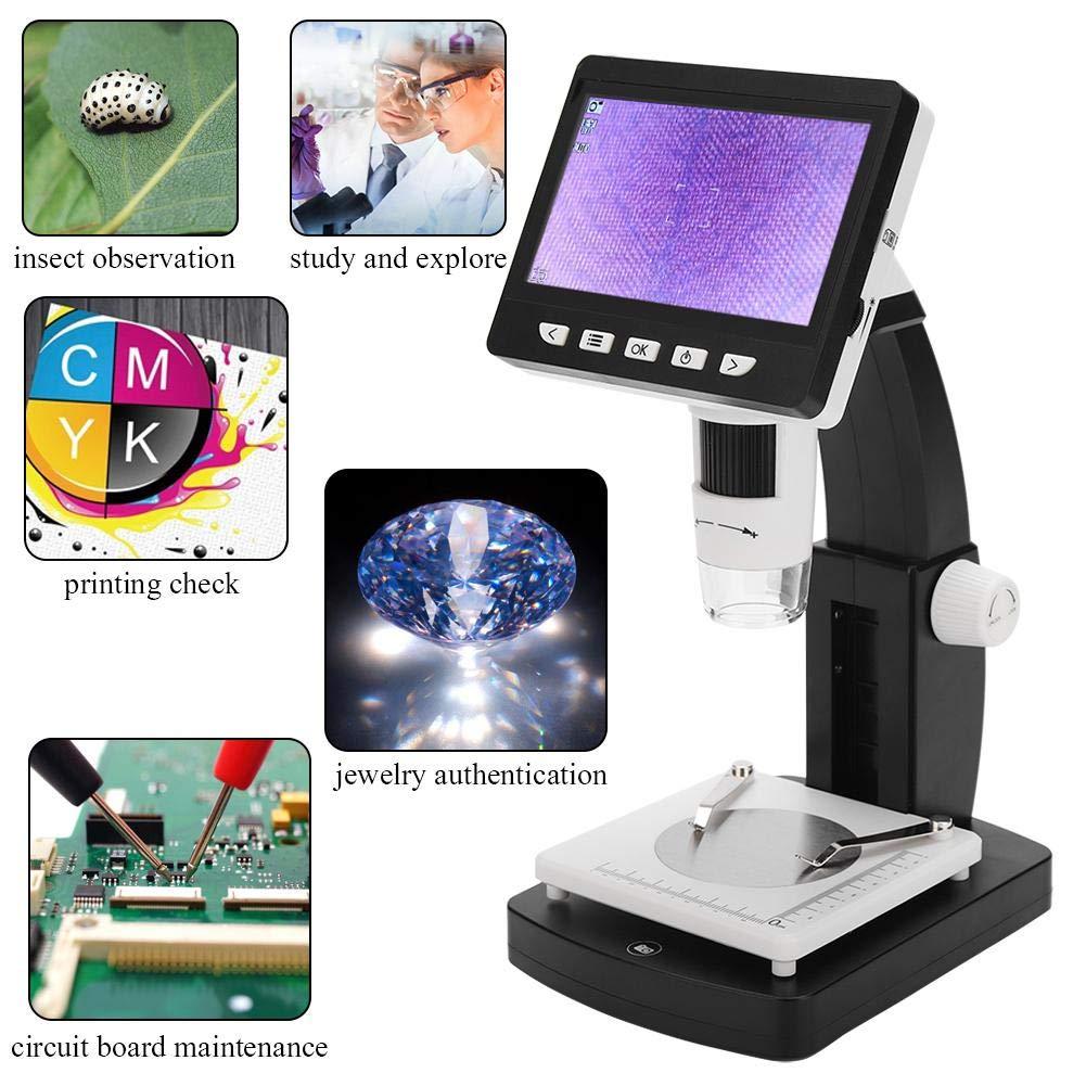 lupa de microscopio de c/ámara de video para detecci/ón verificaci/ón de PCB 8 luces LED etc 1000X HD 1080P 8-LED Microscopio electr/ónico TFT de 4.3 pulgadas Microscopio digital LCD
