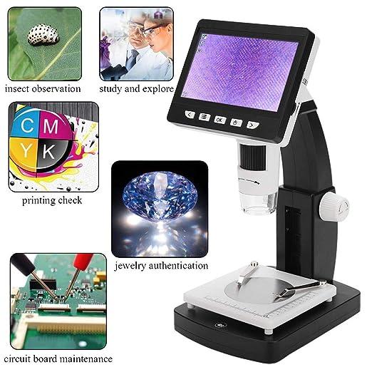 port/átil 1000X HD 1080P 8-LED Pantalla TFT de 4.3 pulgadas Microscopio digital para verificaci/ón de PCB industrial Microscopio digital USB