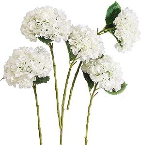 PARTY JOY 5PCS Artificial Hydrangea Silk Flowers Bouquet Faux Hydrangea Stems for Wedding Centerpieces Home Decor (White, 5)