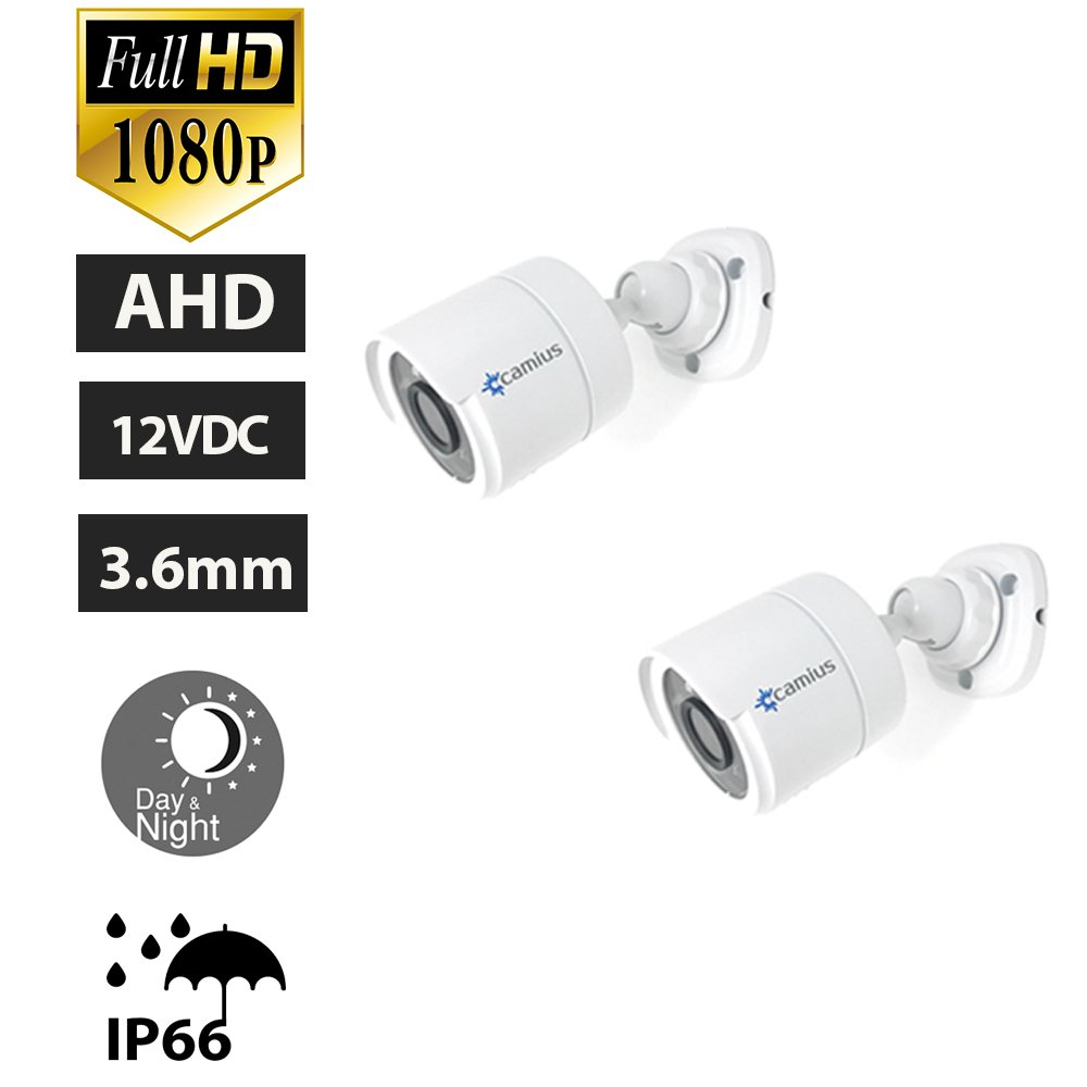 Camius 2-Pack 1080P Bullet Security Camera - AHD CCTV Camera for a DVR Surveillance System - Night Vision 66ft, Metal IP66 Weatherproof -Works with 12V DC (Requires an AHD DVR)
