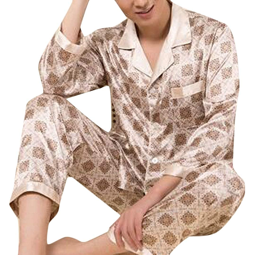 DFBB Men 2 Pieces Suits Button ComfortSoft Faux Silk Up Sleepwear Homewear Pj Set