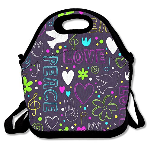 Pattern With Symbols Of Peace Love Lunch Bag Large Reusable Lunch Tote Bags For Women Teens Girls Kids Baby Adults Cool Fashion Lunch Box For Work Office School Or Gym