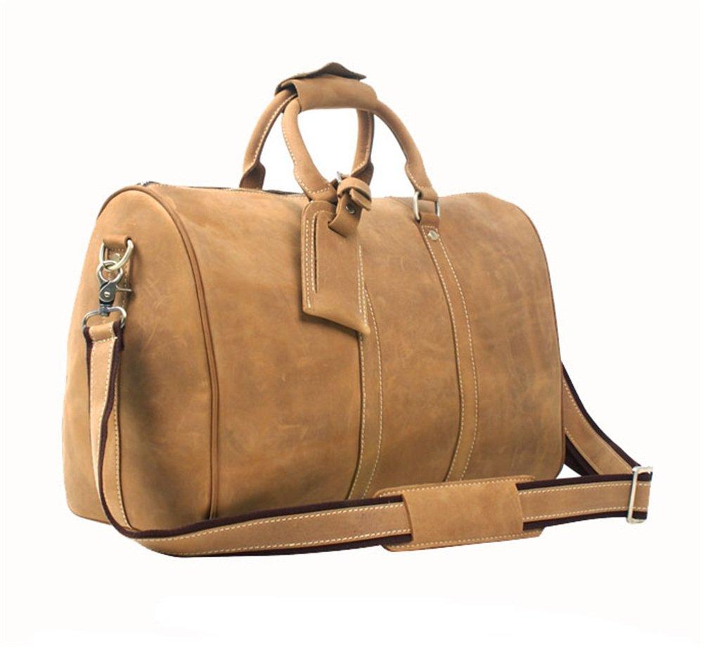 旅行ダッフルバッグクレイジーホースレザーハンドバッグヴィンテージ手作りバッグレザー大容量トラベルバッグ 旅行用ハンドバッグ   B07QLRGM4T