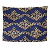 Emvency Tapestry 60''x80'' Mandala Indian Hippie Wall hangings Blue Abstract Damask Antique Arabesque Arabian Arabic Artistic Asian Baroque Home Decor Tapestries for Living Room