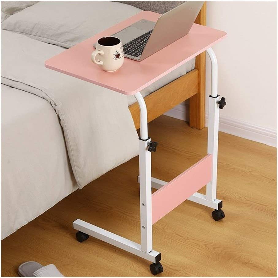 RSBCSHI Computer Desk Can Be Raised and Lowered,Ergonomic Table Solid-Top Height Adjustable Mobile Laptop Desk Cart (Color : Pink, Size : 60cm40cm)