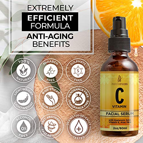 61 wmB19vrL - Vitamin C Serum for Face (2oz) with Hyaluronic Acid and Vitamin E Natural Skin Care Facial Treatment Neck & Chest Anti-Aging Serum Fights Pigmentation Fine Lines and Wrinkles