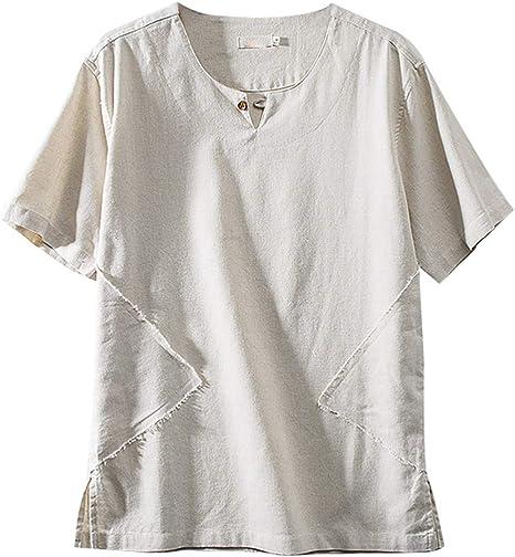 Wawer - Camiseta de Manga Corta para Hombre de Manga Corta de Verano con Camiseta de Color Liso, Camiseta Japonesa para Hombre, Hombre, Beige, L2: Amazon.es: Deportes y aire libre