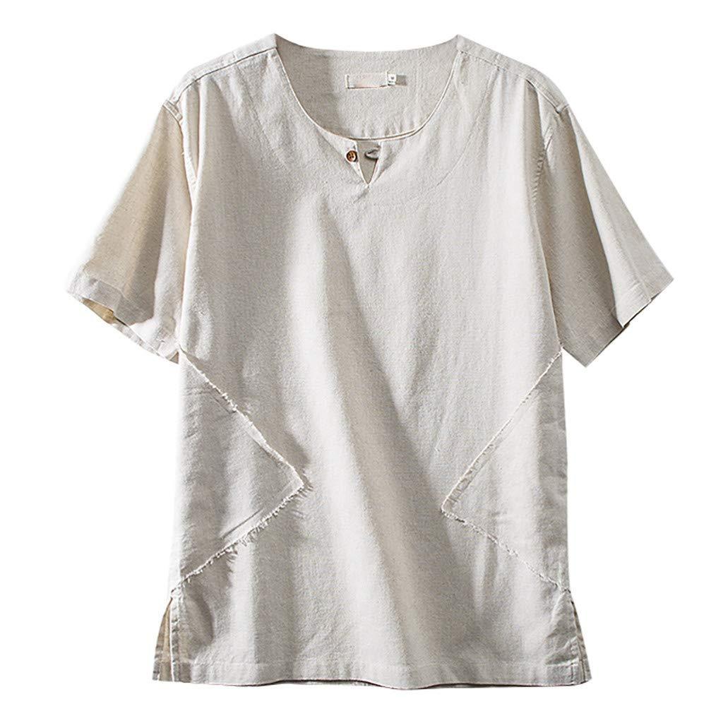 JJLIKER Mens Cotton Linen Henley Shirts Solid Short Sleeve Tops Summer Button Up Tees Loose Casual Summer T Shirts White