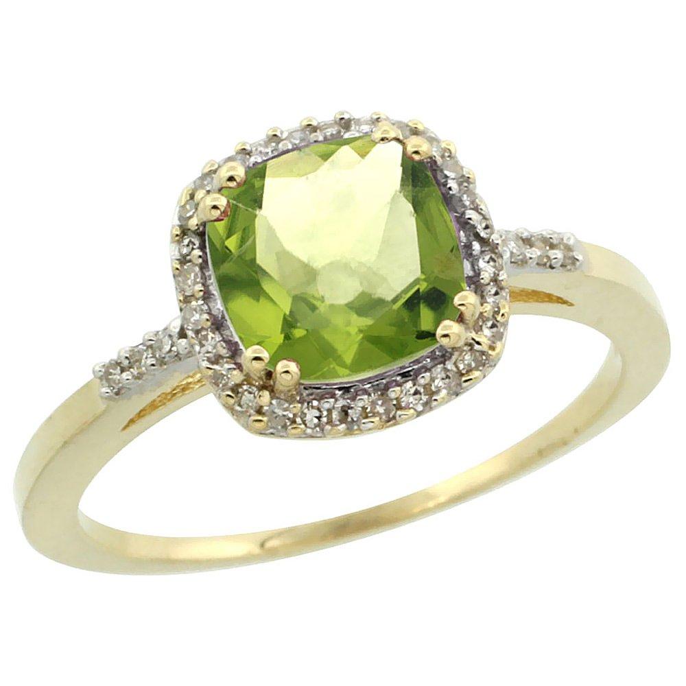 10K Yellow Gold Diamond Natural Peridot Ring Cushion-cut 7x7mm, size 6