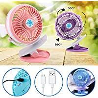 Battery&USB Fan ,Baby Stroller&Car Desk Portable Mini Clip Fan Rechargeable Battery USB Fan (Blue)
