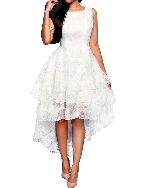 Wedding dresses amazon womens bridal gown floral sleeveless multi layer high low wedding dress ombrellifo Choice Image
