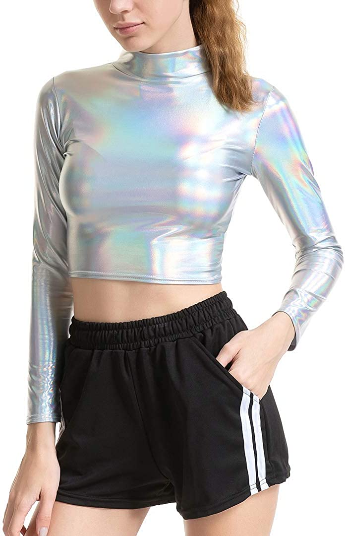 Cindaisy Women Liquid Metallic Long Sleeve Crop Top Turtleneck Tops for Rave Club Dance