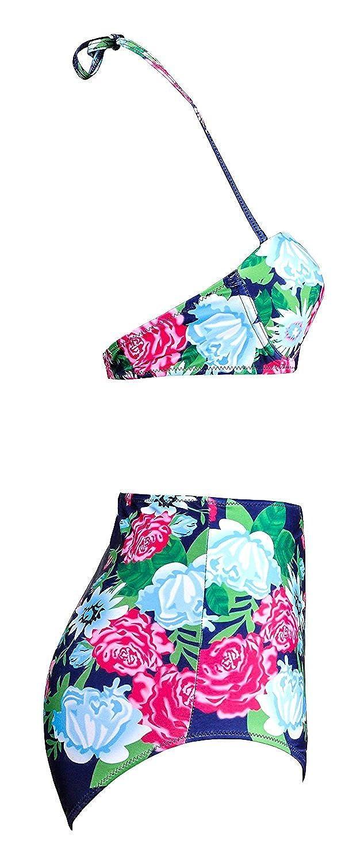 a206c21026 Amazon.com  Jamesoark Sexy Women s Vintage Style High Waisted Bikini Sets  Swimsuits Swimwear  Clothing
