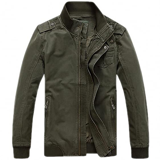 Men Autumn Jacket Men Casual Loose Stand Collar Army Military Jackets Plus Size M-3XL