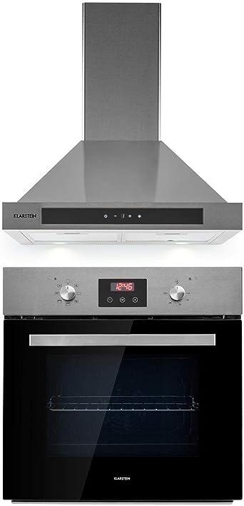 Klarstein Kalahari Zelda – Set de montaje – Horno de horno + Campana de pared extractora, horno: 68 L/EEC A/50 – 250 °C, campana 60 cm/salida de aire 620 m3/h/3 niveles/EEC B,