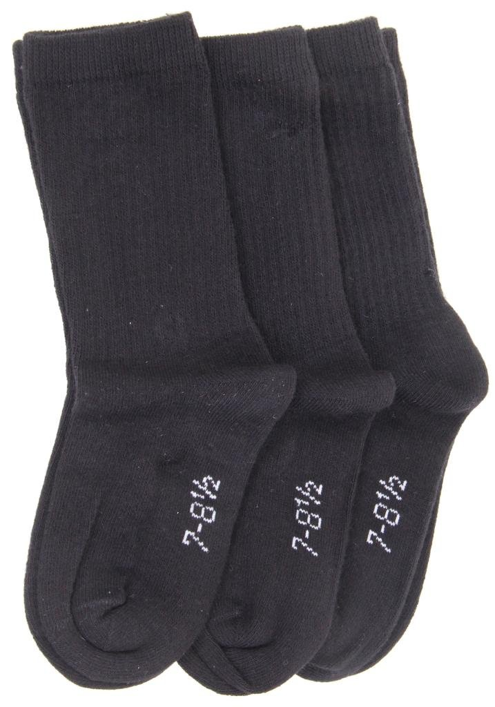 Trimfit 3 pair pack boys crew socks cotton blend 1603 (6-7, black)