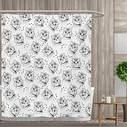 smallfly Black and White Bathroom Set with Hooks Cute Dog Pattern with Buckle and Collar Monochrome House Pet Illustration Shower Curtain Customized 72