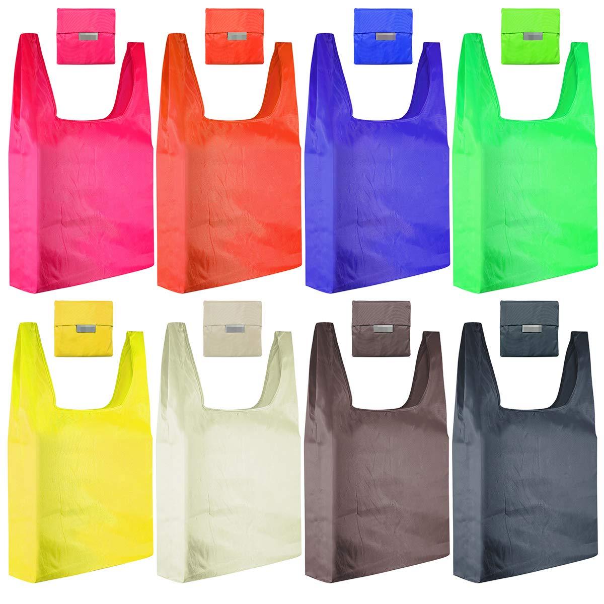 HUAYF 再利用可能な食料品袋 6枚パック キュートデザイン エコフレンドリー Lサイズ 折りたたみ式 ショッピングバッグ ポケットにフィット 防水 洗濯機洗い可能 B07J3LLPJT パターン1