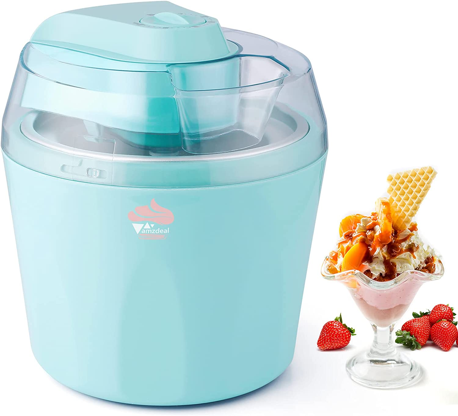Amzdeal Ice Cream Maker 1.5 Quart, Ice Cream Machine with 30-minute Timer & Transparent Lid, Automatic Ice Cream Maker for DIY Homemade Gelato, Frozen Yogurt, Ice Cream, Sorbet, Easy to Use & Clean