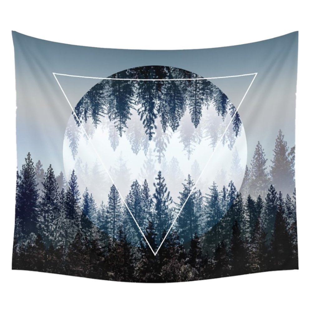 Tapestry Wall Tapestry Wall Hanging Tapestries Sunset Forest Tapestry Ocean and Mountains Wall Hanging Tapestry with Romantic Pictures Art Nature Home Decorations Dorm Decor Tapestries 59 x 51 Inches by BLEUM CADE (Image #1)