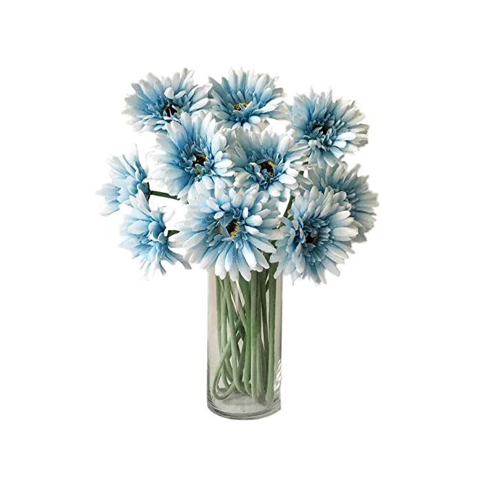 Rae's Garden Artificial Flowers Realistic Fake Flowers Gerbera Daisy Bridal Wedding Bouquet for Home Garden Wedding Party Decorations 10 Pcs (Blue)