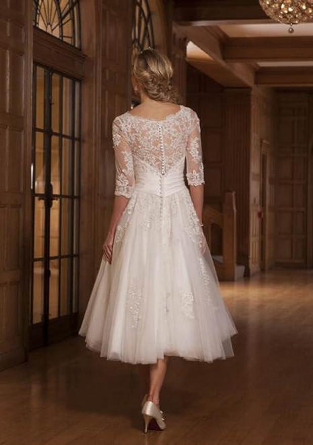 ZYJdress Lace Short Tea Length Wedding Dress Bridal Gowns at Amazon ...
