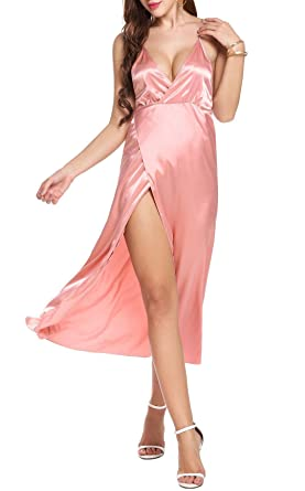 83b1206835 Adome Women Long Sleepwear Chemise Sexy Dress Satin Slip Lingerie Nightgown