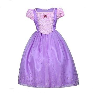 Niña de princesa Rapunzel disfraz vestido de manga Puff ...