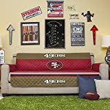 Pegasus Home Fashions NFL San Francisco 49ers Sofa Couch Reversible Furniture Protector with Elastic Straps, 75-inches by 110-inches