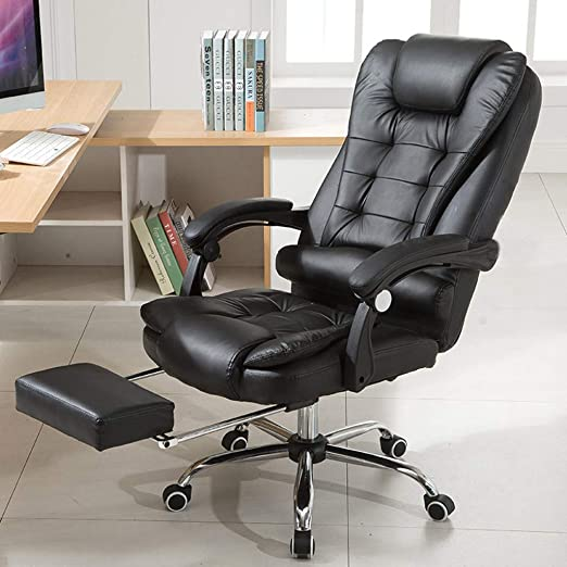 Amazon Com Office Chair Ergonomic Desk Chair With Retractable Footrest Modern Executive Adjustable High Back Pu Leather Computer Chair Swivel Chair For Home Office Conference Black Kitchen Dining