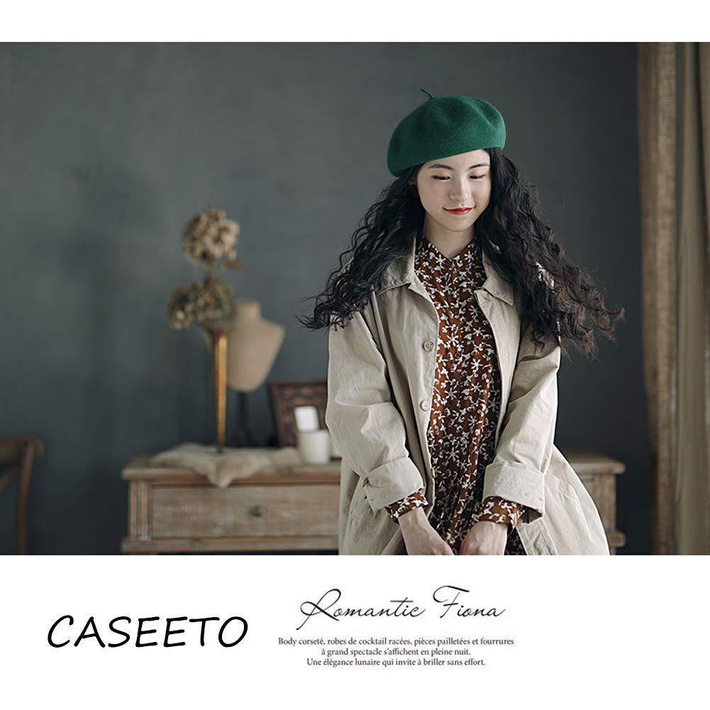 Caseeto French Beret for Women 100/% Wool Adjustable Cap Women Beret