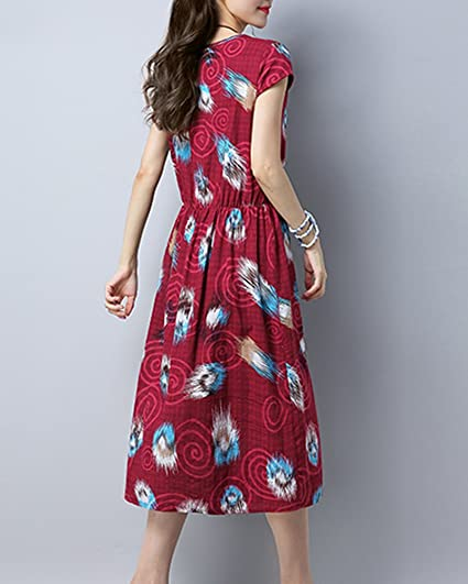 Damen Große Größe Gedrucktes Kleid Leinenkleid Sommerkleider Strandkleid  Party Kleider rot M  Amazon.de  Bekleidung 475771ad4a