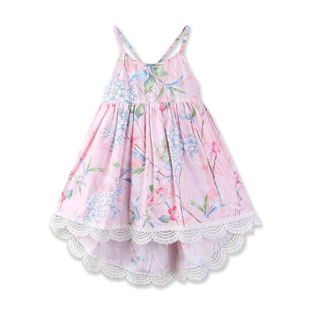 May zhang Little/Big Girls' Dress Sleeveless Cotton Dress,Girls Countryside Overalls Flower Print for Summer (Pink-17, 5/6Y) by May zhang (Image #2)
