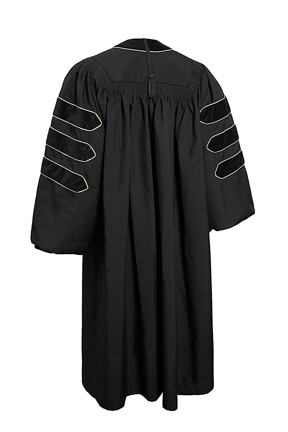 4b010ae504 Amazon.com  GraduationMall Deluxe Doctoral Graduation Gown for Faculty and Professor  Phd Blue Velvet with Gold Piping  Clothing
