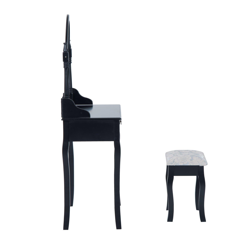 HOMCOM Makeup Vanity Table Set Stool Mirror W//Drawers Wooden Furniture Bedroom