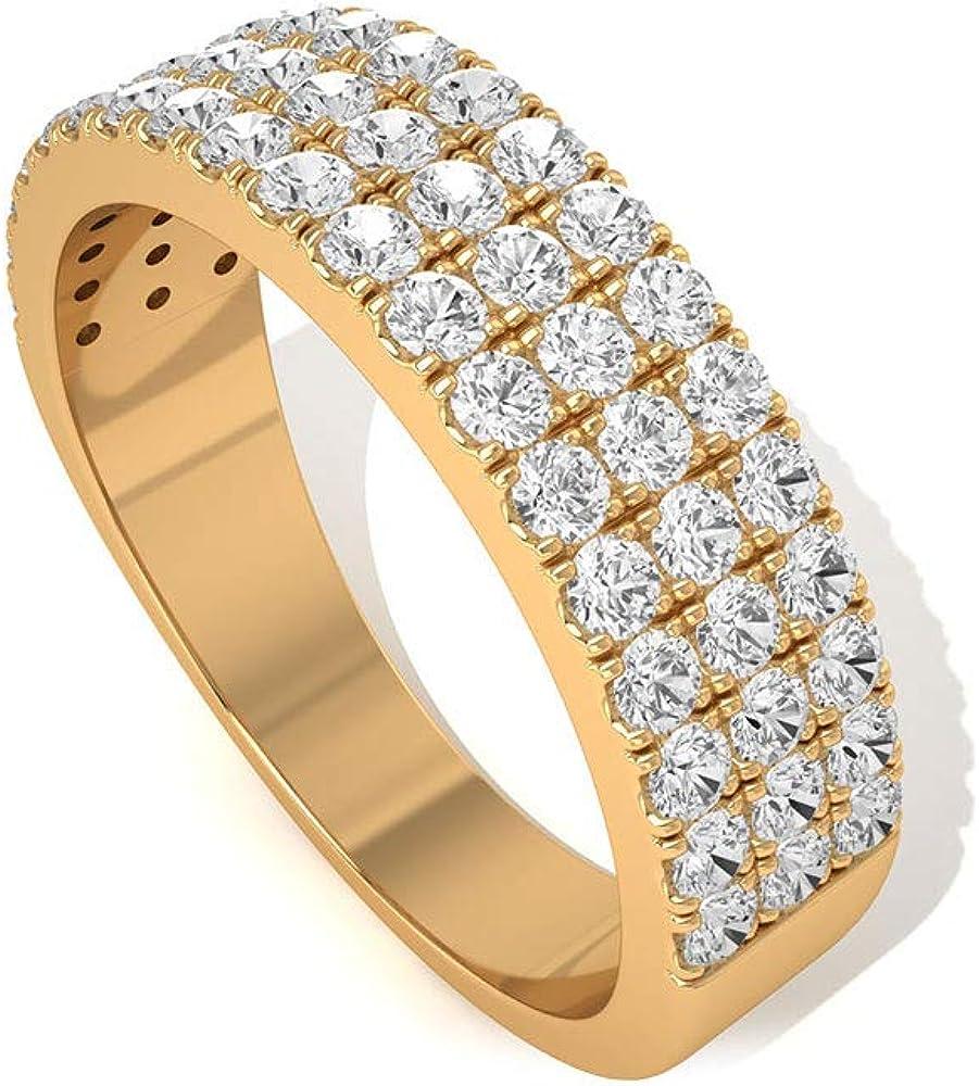 Anillo certificado IGI de diamantes de 0,85 ct, anillo de boda de media eternidad de tres filas, IJ-SI, claridad de color, anillo de promesa de oro, Art Deco, anillo de declaración para niña