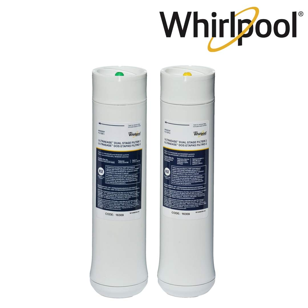 Whirlpool WHEEDF Dual Stage Replacement Pre/Post Water Filters | Fits WHADUS5 & WHED20 Filtration Systems | 1 Set by Whirlpool