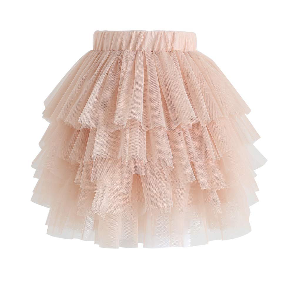 Chicwish Girl's Nude Pink Tiered Layered Mesh Ballet Prom Party Tulle Tutu A-line Midi Skirt for Kids