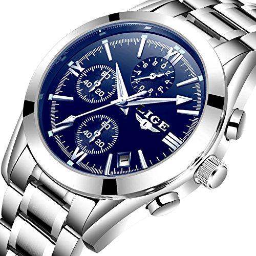 Watch for Men,LIGE Stainless Steel Waterproof Sport Analog Quartz Watch Gents Chronograph Date Business Casual Luxury Dress Wrist Watch Blue -